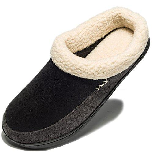NewDenBer NDB Classic Plüsch Herren Damen Warme Pantoffeln Home Rutschfeste Weiche Leicht Hausschuhe (41/42 EU, Schwarz Grau (Black Grey),8-8.5D