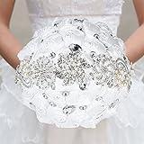 Decdeal 21cm Handmade Wedding Brooch Rhinestone Bridal Bouquet Satin Rose Flower with Artificial Pearls Decorated for Bride Wedding Supplies