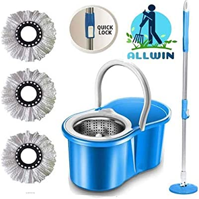 ALLWIN's Magic Spin Mop Bucket Steel with 3 Micro Fiber Mop Head Household Floor Cleaner (Blue)