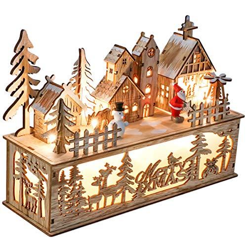 Valery Madelyn Décorations de Noël en Bois, 11,8pouces/30cm Ornements Lumineux de Noël à LED, Décoration de Noël Illuminée avec Lumières pour Table