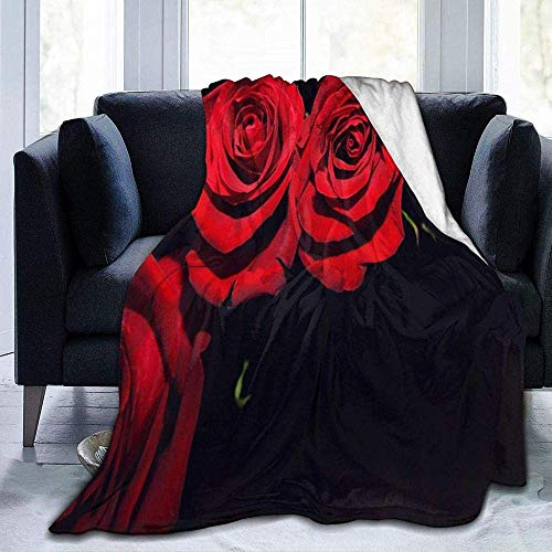 lucky-bonbon Rosas flores capullos rojo fondo negro tema moda invierno cálido sofá manta (muebles de cama).