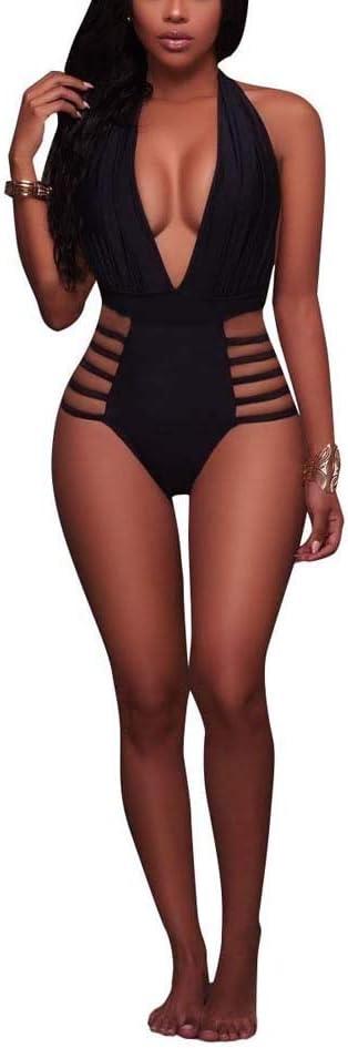 Swimsuit Women's Halter Deep V Swimsuit High Waisted 1 Piece Monokini Bathing Suits Strapless (Color : Black, Size : S)
