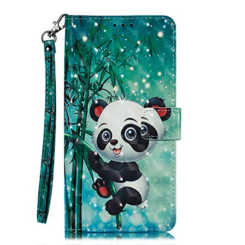 Coopay para Samsung Galaxy J3 2017 J330 Funda,Niños Cuero Carcasa,Delgado Creativo Brillante Lindo Panda Animal Patrón Libro Caso Cartera,Flip Soporte A prueba golpes Anti-rasguños Función + Acollador