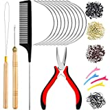 Hair Extension Tools Kit, 600 Silicone Lined Micro...