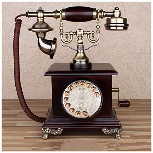 Mevida bel van koper voor oude telefoon van massief hout, draaibaar van metaallegering, vaste telefoon (kleur: geen bel van messing)