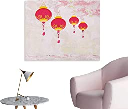 Anzhutwelve Lantern Mural Decoration New Year of Chinese Calendar Celebrations Eastern Imagery Abstract Asian Art Custom Poster Hot Pink Yellow W28 xL20