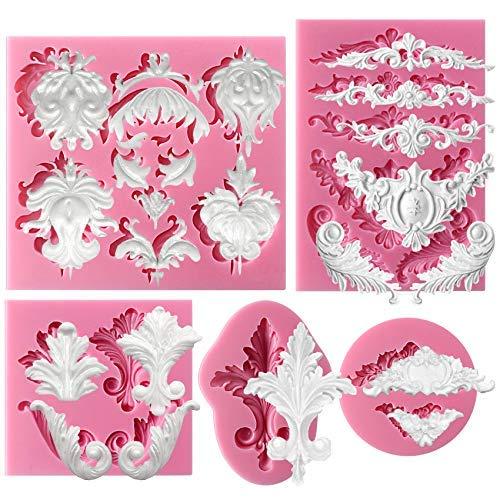 Musykrafties Retro barokrollen-kant zachte bonbon-siliconen vorm voor suikerfabrikatie, cake-rand-decoratie, kleine taartdeksels, sieraden, plastictoon, ambachtelijke projecten