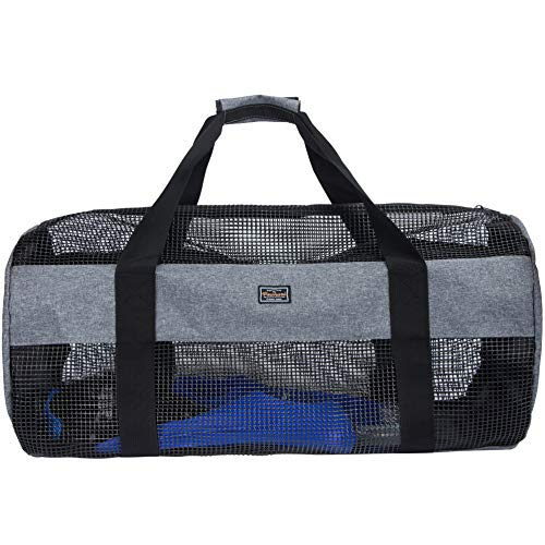PACMAXI Mesh Diving Duffel Bag Collapsible Large Beach Bags and Totes with Zipper Diving and Snorkeling Gear amp Equipment Tote Holds Mask Fins Snorkel Grey