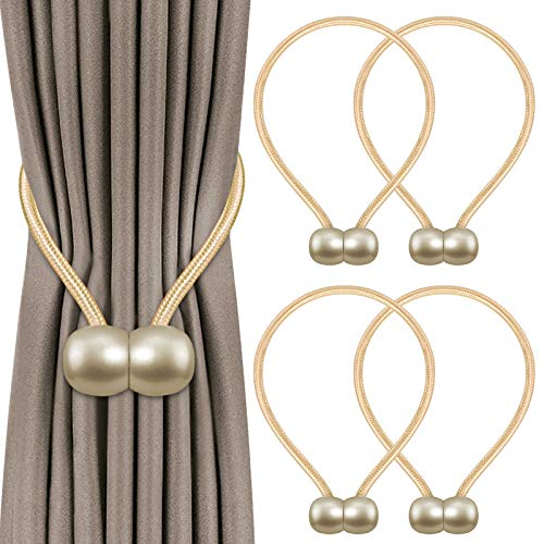 4 Pack Magnetic Curtain Tiebacks,Convenient Drape Tie Backs,Decorative Curtain Holdbacks, Curtain Tiebacks for Drapes No Tools Required-Headphone Shape (Beige)