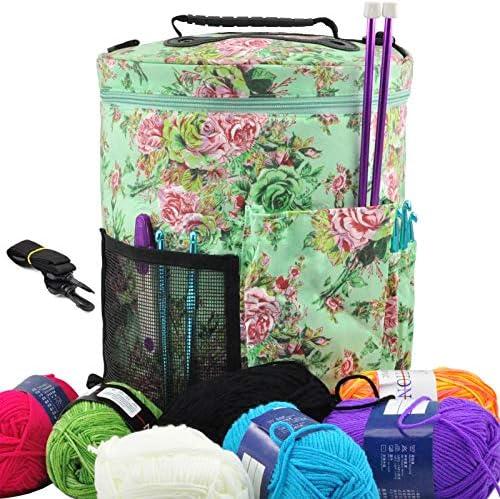 HANDYAY Portable Yarn Storage Knitting Tote Organizer Bag with Adjustable Shoulder Strap Handles product image