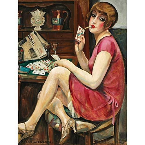 Gerda Wegener Solitaire 1928 Painting Large Wall Art Poster Print Thick Paper 18X24 Inch Gemälde Wand Poster drucken