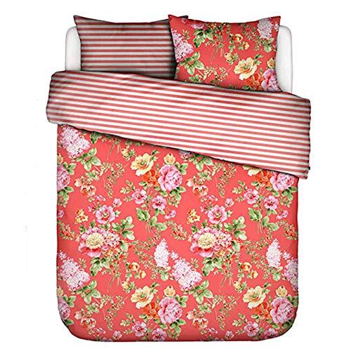 ESSENZA - Ropa de cama de diseño de flores y rayas, funda nórdica: aprox. 140 cm x 200 cm. Funda de almohada: aprox. 70 cm x 90 cm, 100% algodón puro (rojo dulce, satén).