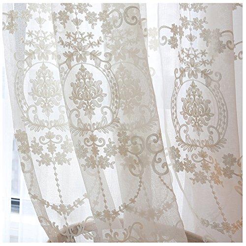 CYSTYLE 2018 1er-Pack Gardine, weiß Spitze Vorhang aus hochwertigem mit transparentem Oberstoff (150 cm W*270 cm H)