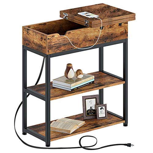 Rolanstar End Table with Charging Station, Narrow Flip Top End Side Table with Storage Shelf and USB Ports & Power Outlets for Small Spaces, Nightstand Sofa Table for Living Room, Bedroom Rustic Brown