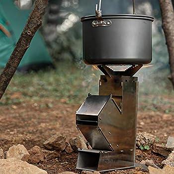 Akkem Réchaud de Camping Pliable Portable léger en Acier Inoxydable poêle à Bois Rocket Stove, pour Camping Cuisine Pique-Nique Sac à Dos en Plein air