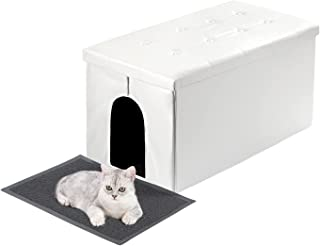 MEEXPAWS cat Litter Box Enclosure Furniture Hidden, Cat washroom Bench Storage Cabinet   Large Space   Dog Proof   Easy Cl...
