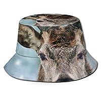 男性と女性のための鹿と雪のバケツの日よけ帽-紫外線保護キャンプ夏の帽子ウェンの女性のための柔軟な耐久性