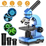 Emarth Science Microscope pour Enfants débutants, étudiants, 40 x 1000 x Microscopes composés avec 52 Kits de Sciences éducatives (Blue)