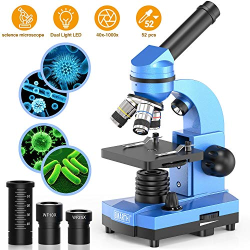 Microscopio science per bambini, principianti e studenti, 40 x 1000 microscopi composti con 52 kit educativi