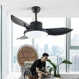 WDDMFR Moderno ventilador de techo LED, 3 aspas de ventilador de plástico ABS, lámparas de techo con luces para el salón en casa, Black Boom, 50in