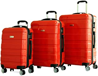 Discovery Smart Luggage with Built-in Scale & 100m Chip Tracker, Serenade,3 Piece Set - RA8728, RED