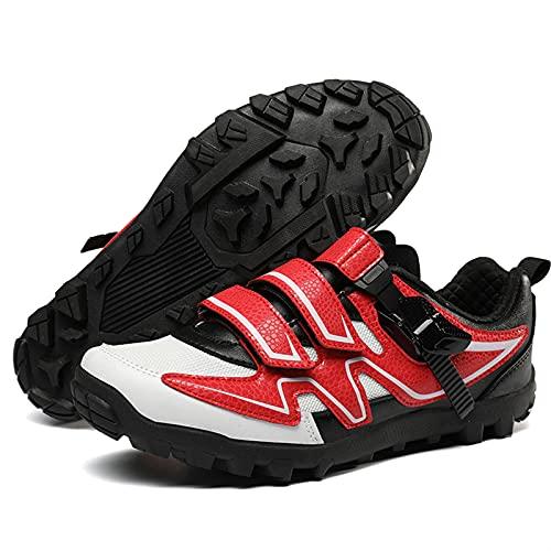 Calzado De Ciclismo para Hombre, Zapatillas MTB Planas Sin Tacon Zapato De Montar con Suela De Goma para Competiciones De Ciclismo, Carreras De Bicicletas,Rojo,45