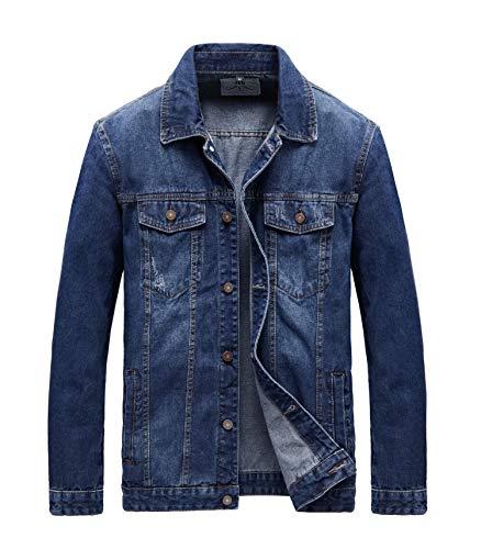 JYG Men's Casual Button Down Denim Jacket Classic Trucker Jean Coat (Blue-7536, Large)