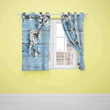 Xlcsomf Printed Curtain Rustic (2 planels,W27.5 x L39) Small Curtain A Branch with Blooming Spring Flowers on Wooden Fragility Symbol of Spring White Light Blue