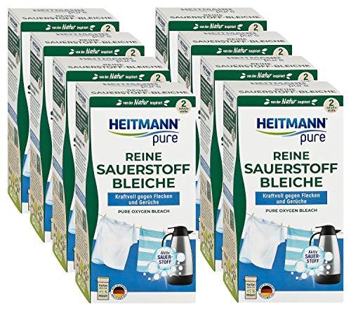 HEITMANN pure Reine Sauerstoffbleiche: Ökologisches Bleichmittel, hohe Waschkraft gegen Flecken & Schmutz, 8x 350g