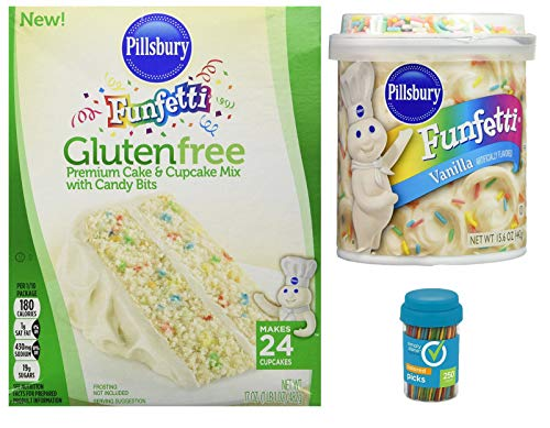 Pillsbury Funfetti Gluten Free Premium Cake and Cupcake Mix with Candy Bits, Funfetti Gluten Free Vanilla Frosting with Candy Sprinkles and 1 Bottle of 250 count Simply Done Colored Picks Bundle