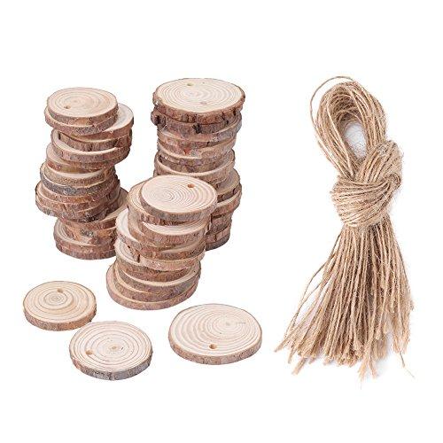 Jadpes puur natuurlijke grenenhoutspaanders DIY, 2 types 50 stuks boomschijf houten blok voor doe-het-zelf knutselen rustieke huwelijksfeest houtdecoratie