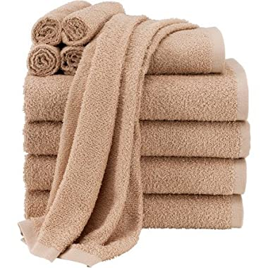 Mainstays Value 10-Piece Towel Set | Soft & Absorbent | 100% Light Terry Cotton (Tan)