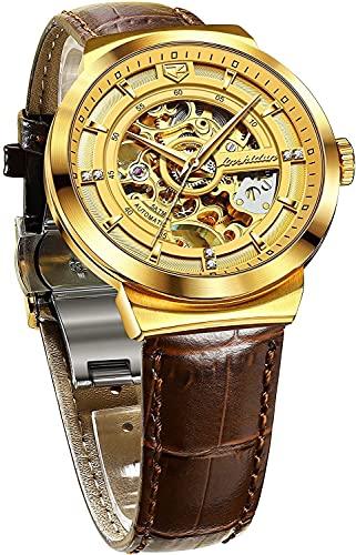 QHG Relojes de Vestido de Esqueleto para Hombres Reloj de Pulsera mecánico automático. (Color : Brown Strap and Gold Dial)