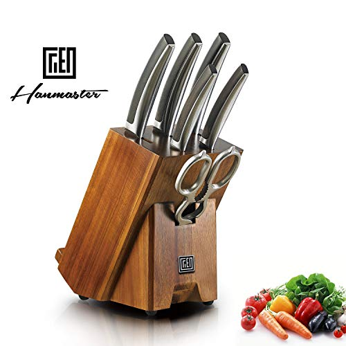 Hanmaster Kitchen Germany High Carbon Stainless Steel 7-piece Razor Sharp Knife Set with Wooden Block for household and restaurant.