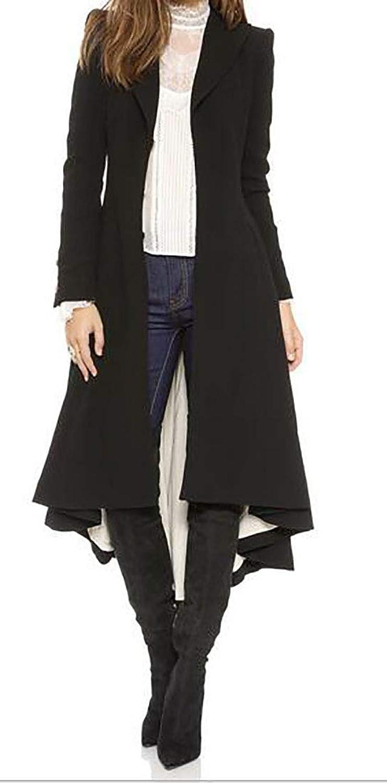 BLTR Women Wool Blend Irregular Hem Trench Coat Jacket Overcoat