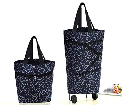 Cocobuy Collapsible Trolley Bags Folding Shopping Bag with Wheels Foldable Shopping Cart Reusable Shopping Bags Grocery Bags Shopping Trolley Bag on Wheels(Black)