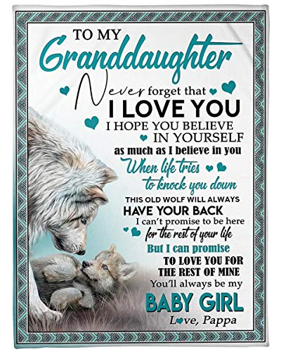 Simple Gift Blanket Hot 2021: to My Granddaughter Love from PAPA Wolf, to Love You for The Best of Mine| Cozy Premium Fleece Sherpa Woven Blanket - Fleece Blanket Size 50x60 inch Gift Ideas for Loved