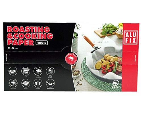 ALUFIX Bratpapier Kochpapier 33x32cm für Kochen Braten Garen Dämpfen, 100 Stück
