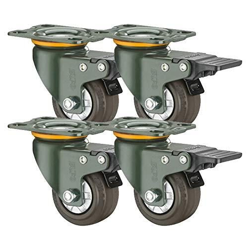 Casters 4X Schwerlastrollen 2in / 3in Lenkrolle Mit Bremse Feste Lenkrollen| Doppellager Gummi Schwenkrollen Möbelwagenräder Ersatz | Tragkraft 350KG