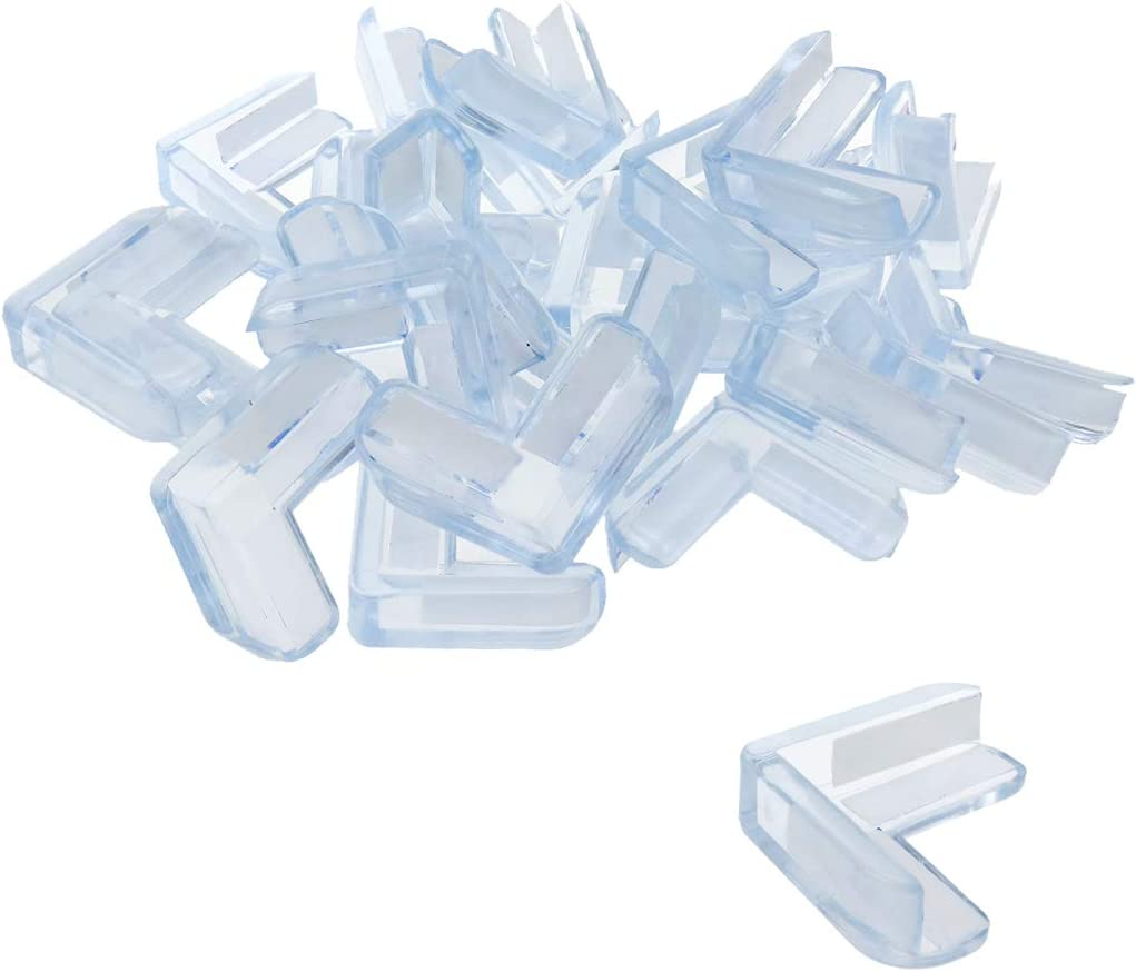 Sydien 25pcs Transparent Silicone L-Shaped Corner Protector with Adhesive for Prevent Injuries