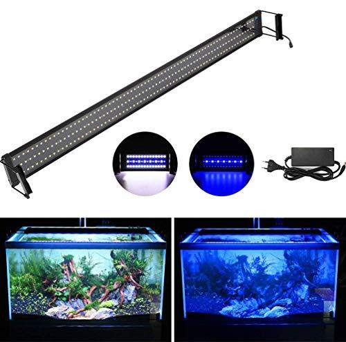DOCEAN LED Aquarium Beleuchtung, SMD 5050 210LEDs Aquarium LED Lampe mit Mondlicht, Aquarien Leuchte LED Licht für Süßwasser-Aquarien, Einstellbare Länge für 115-135CM Fisch Tank