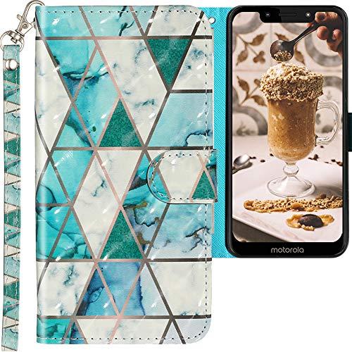CLM-Tech Hülle kompatibel mit Motorola Moto G7 Play - Tasche aus Kunstleder - Klapphülle mit Ständer & Kartenfächern, Marmor türkis Mehrfarbig