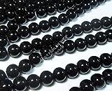 Onyx Halbedelstein Strang Schwarz Perlen Poliert und Matt Set Halbedelstein Strang 4/6/8/10 mm Perlenstrang Perlenkette (8mm Rund Poliert)