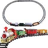 DUOCACL Treno Natalizio Festivo, Decorazioni per L'Albero di Natale, Trenino Elettrico Classico per vagoni ferroviari Giocattoli Regalo per Bambini