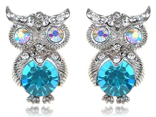 Alilang Womens Silvery Tone Turkoois Blauw Gekleurde Steentjes Uil Vogel Stud Oorbellen