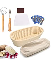 Cesta ovalada a prueba de pan, Banneton cesta de prueba de 14 pulgadas, cesta de masa de ratán natural con bolsa de pan, rascador, batidor, lame, para panaderos profesionales