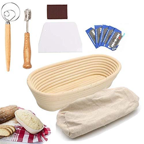 UHAPPER Banneton Gärkörbchen Set, Oval Rattan Gärkorb Proofing Körbe, mit Brotbeutel, Schaber, Schneebesen, Lame, für professionelle Brotbacken