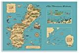 Guam Map - Pictorial Illustration Print of the Marianas Islands by Nelson circa 1958 - Includes Saipan, Tinian and Rota (16 inches x 24 inches)