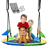 Suny Smiling 40 Inch Saucer Tree Swing Flying 660lb Weight Capacity 2 Added Hanging Straps Durable Swing Seat Great for Playground Swing, Backyard and Playroom #4379