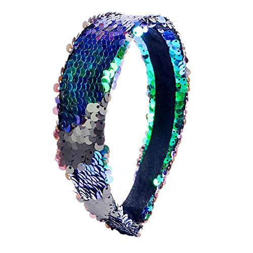 Livecity Doppelfarbiges wendbares Pailletten-Haarband für Mädchen, glänzend, buntes Haarband für Partys